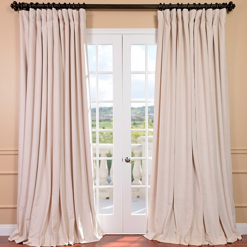 Signature Double Wide Off White Velvet Curtains by HalfPriceDrapes