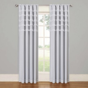 Eclipse My Scene Ruffles Batiste White Blackout Curtain Window Panel
