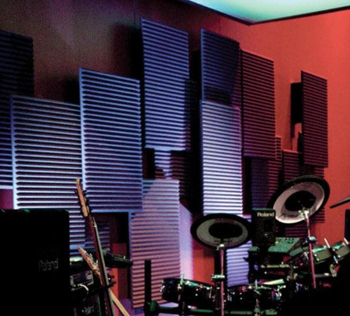 Auralex Studiofoam Wedges Installed Behind Drumset